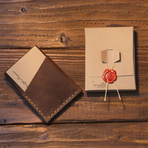 portcard piele naturala handmade