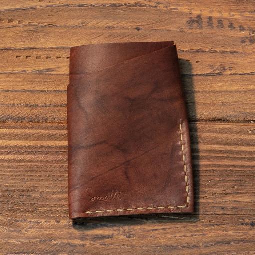 portofel carduri portofel piele maro personalizat facut manual