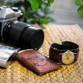 portofel carduri piele maro personalizat facut manual