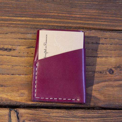portofel piele barbati burgundy realizat manual, personalizat