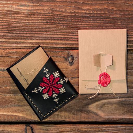 portcard piele negru brodat motive traditionale