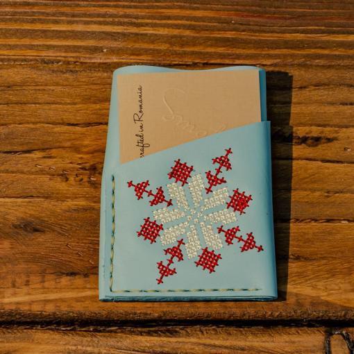 Portcard Piele Turquoise Deschis Brodat