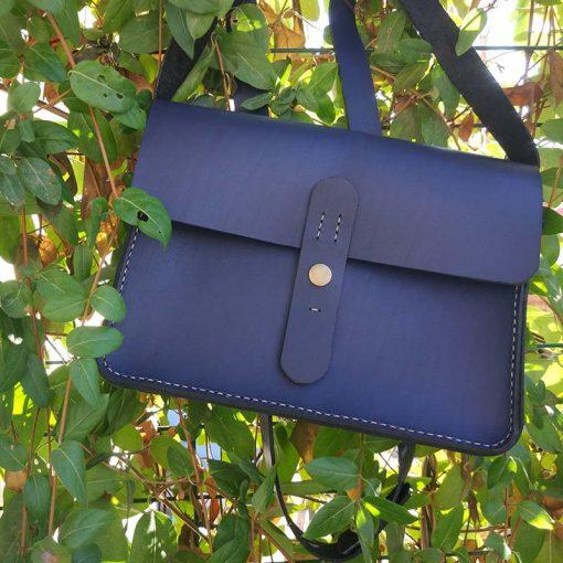 geanta piele albastra