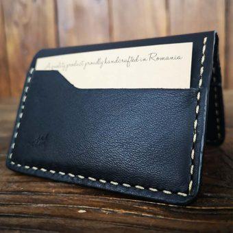 portcard minimalist din piele