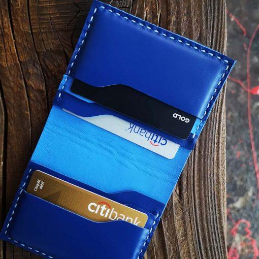 portofel albastru piele
